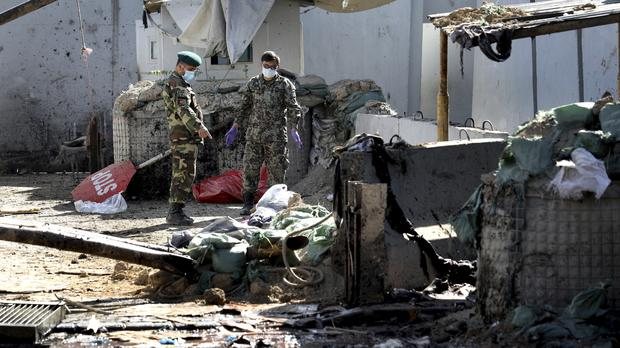 The site of the suicide attack (AP Photo/Ebrahim Noroozi)
