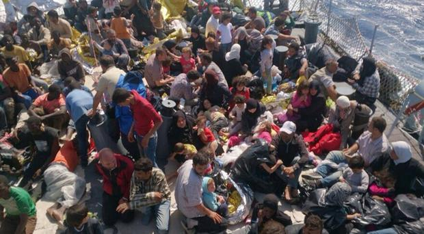 Migrants and refugees on a boat from Zuwarah in Libya travelling to Italy (Migrant Voice UK/PA)