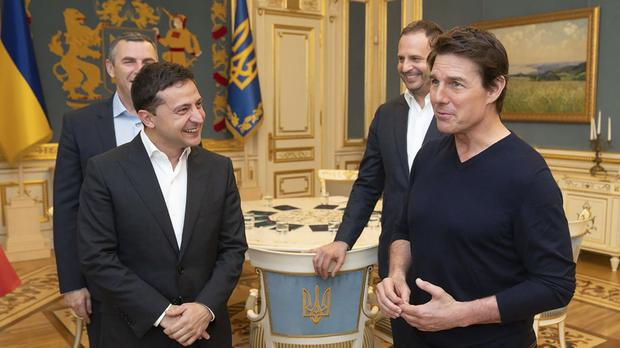 Volodymyr Zelenskiy and Tom Cruise (Ukrainian Presidential Press Office via AP)