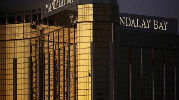 A window is broken at the Mandalay Bay resort and casino in Las Vegas, the room from where a gunman fired on a nearby music festival, killing 58 (John Locher/AP)