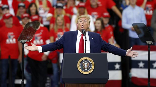 President Donald Trump speaks at a campaign rally (Jim Mone/PA)
