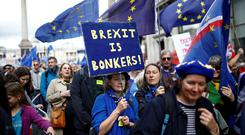 Loud and clear: Protesters on the anti-Brexit 'Let Us Be Heard' take to London streets. Photo: Reuters/Henry Nicholls