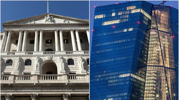 The Bank of England in London and European Central Bank in Frankfurt (Yui Mok/PA/Michael Probst/AP)
