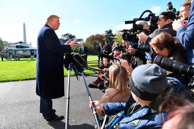 Media call: Donald Trump speaks to the press at the White House yesterday. PHOTO: GETTY
