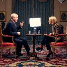 THE BIG PUSH: Prince Andrew and Emily Maitlis in Buckingham Palace during the televised interview