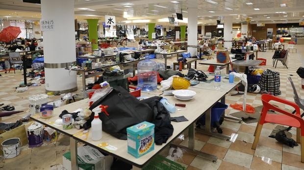 The abandoned belongings of protesters who have now left the Polytechnic University in Hong Kong (Vincent Thian/AP)