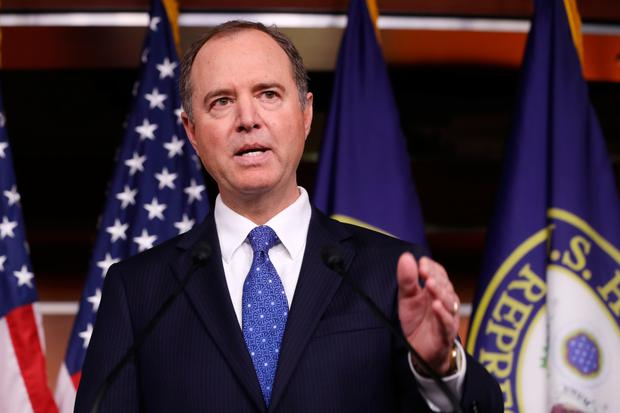 Outraged: House Intelligence Committee chairman Adam Schiff holds a news conference shortly after the release of the report. Photo: Chip Somodevilla/Getty