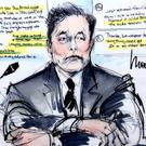 Courtroom sketch shows Elon Musk during the trial in a defamation case filed by British cave diver Vernon Unsworth