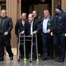 An ugly business: Harvey Weinstein exits the courtroom last week on a zimmerframe. Photo: Eduardo Muno/Reuters