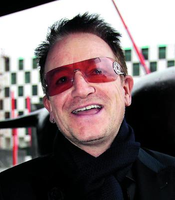 Bono  pictured arriving at Cafe H at   the Grand Canal dock   , for the Principal Managment Christmas Party.  Pic Frank Mc Grath