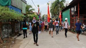 Students from a local university stage a protest against the military coup in Dawei, Myanmar. Photo: REUTERS