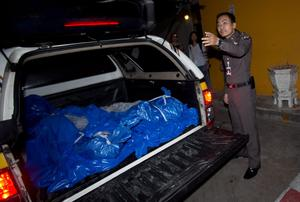 A policeman prepares to remove the bodies of slain British tourists, Hannah Witheridge and David Miller, from an ambulance in Bangkok