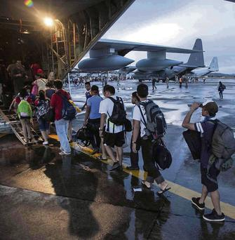 Civilians being evacuated from Tacloban