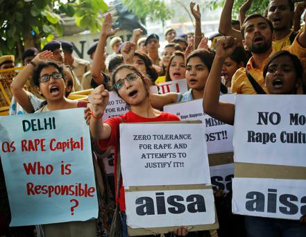 Students protest in New Delhi over the recent rise in rapes on Friday.