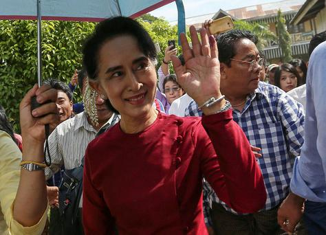 Leader of Myanmar's opposition National League for Democracy party, Aung San Suu Kyi