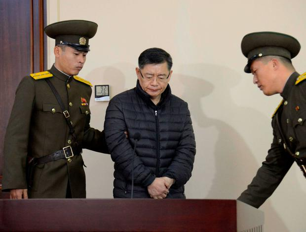 South Korea-born Canadian pastor Hyeon Soo Lim stands during his trial at a North Korean court.