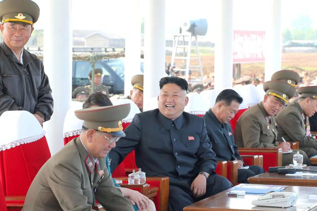 Kim Jong Un with some of his general staff in Pyonyang.