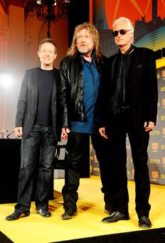 The three surviving members of Led Zeppelin, from left, John Paul Jones, Robert Plant and Jimmy Page. Photo: Ian West/PA