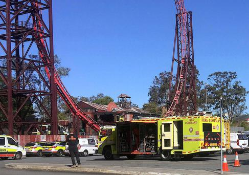 Emergency services vehicles can be seen outside the Dreamworld theme park at Coomera on the Gold Coast, Australi