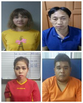 Suspects arrested (clockwise from top left): Vietnamese Doan Thi Huong, North Korean Ri Jong Chol, Malaysian Muhammad Farid Bin Jallaludin and Indonesian Siti Aisyah