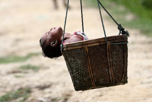 A Rohingya refugee child sleeps in a basket after crossing the border in Palong Khali Bangladesh yesterday