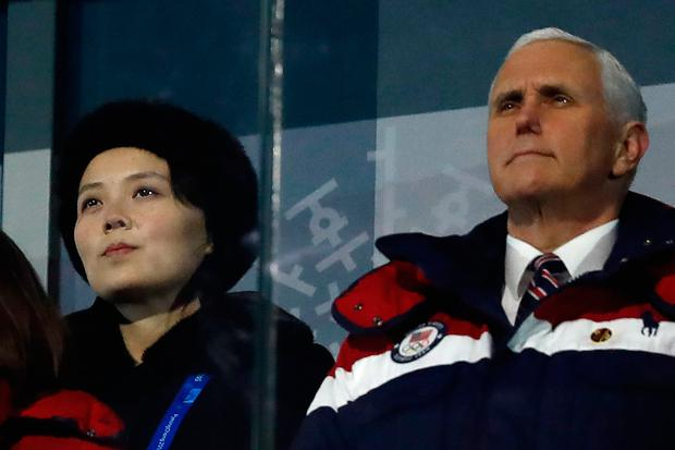 US Vice President Mike Pence and North Korean leader Kim Jong-un's sister Kim Yo-jong at the Winter Olympics opening ceremony. Photo: Getty Images