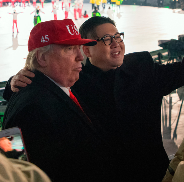 People dressed as Kim Jong-un and Donald Trump at the Olympics opening ceremony. Photo: Getty Images