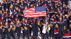 The US team parades at the opening ceremony. Photo: Reuters