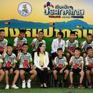 The Thai boys and their football coach attend a press conference in Chiang Rai following their discharge from the hospital. Photo: Getty
