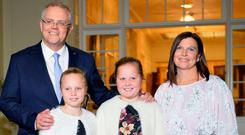 Australian Prime Minister Scott Morrison with his wife Jenny and their two daughters Abbey and Lily. Photo: Getty Images