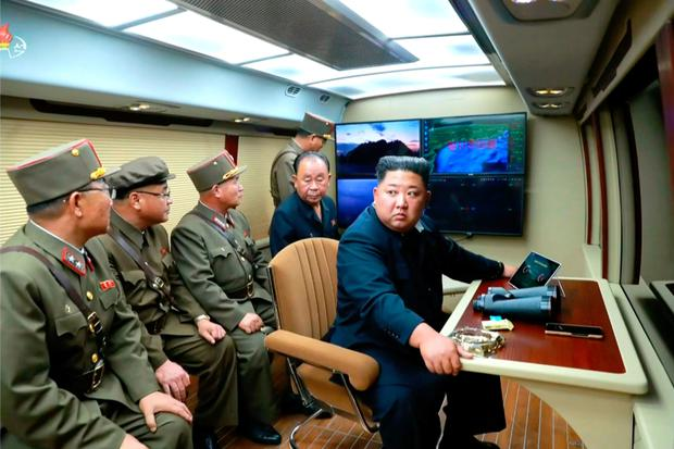 Launch: Kim was seen on state TV at a test. Photo: Getty