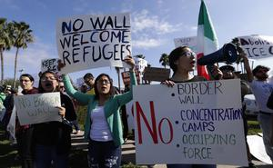 Groups opposed to border walls demonstrate in McAllen, Texas (Eric Gay/AP)