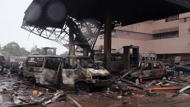 The petrol station after it exploded in Accra, Ghana, killing dozens of people. (AP)