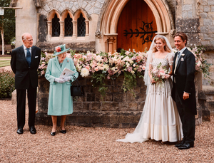 PALAVER: This official wedding photograph of Princess Beatrice and Edoardo Mapelli Mozzi outside the Royal Chapel of All Saints at Windsor with Queen Elizabeth and Prince Phillip