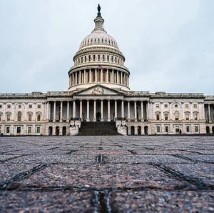 The US Capitol's East Plaza is deserted after it was closed to tourists and non-essential visitors
