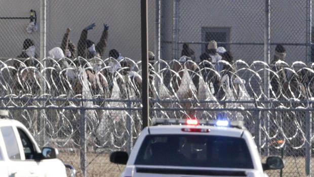 Prisoners in a courtyard at Tecumseh State Correctional Institution (AP)