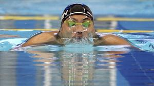Naoya Tomita during the men's 50m breaststroke event at the Asian Games in Incheon, South Korea (AP)