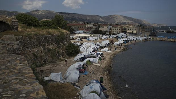 Tents being used as a shelter for refugees in overwhelmed Greece (AP)