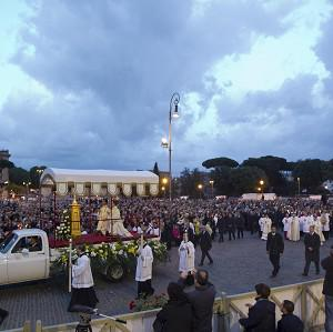 Pope Francis leads the Corpus Domini procession (AP)