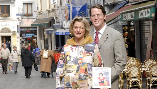 Delphine Boel, left, with her husband James O'Hare (Thierry Charlier/AP)