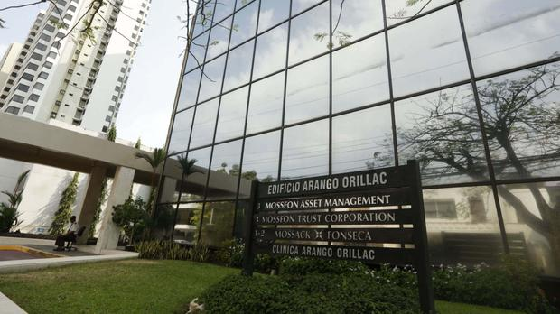 The Arango Orillac Building in Panama City, with a sign listing the Mossack Fonseca law firm (AP)