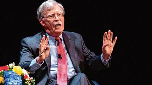 On the spot: Former US national security adviser John Bolton answering questions at Duke University in North Carolina. Photo: Getty