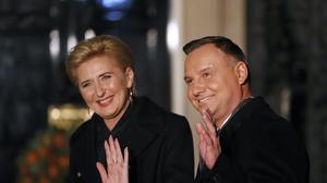 Poland's President Andrzej Duda and his wife Agata (Alastair Grant/PA)