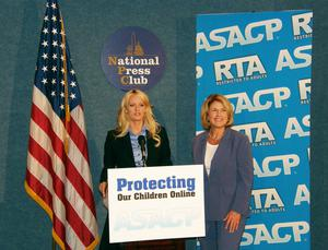 US porn actress Stormy Daniels (centre) at the National Press Club for ASACP (ASACP)