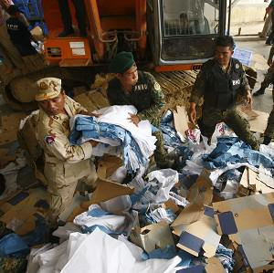 A shoe factory has collapsed in Kai Ruong village, south of Phnom Penh, Cambodia (AP)