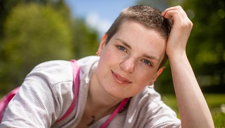 Emma O'Toole from Swords in north Dublin who shaved her hair on April Fool's Day. Photo: Mark Condren