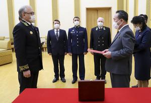 The ceremony in Pyongyang (Russian Embassy in the DPRK/Russian Foreign Ministry Press Service/AP)