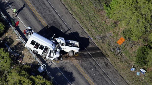 The wreckage of the church minibus and pick-up truck outside Garner State Park (San Antonio Express-News/AP)