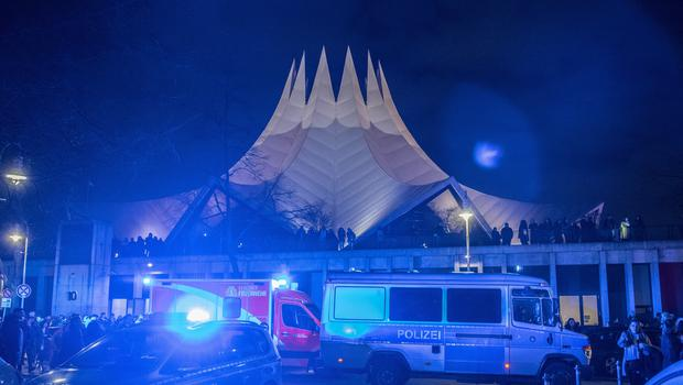 Emergency services in front of the Tempodrom venue in Berlin after a shooting (Paul Zinken/dpa/AP)