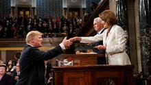 Nancy Pelosi shakes Trump's hand after the 2019 State of the Union address